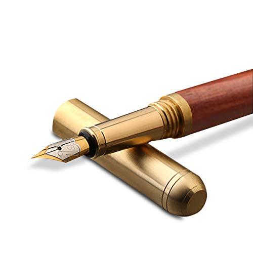 MARSACE Pluma Estilográfica Pluma Fuente de Madera Hecho a Mano Fountain Pen Escribiendo Cómodo Regalo para Hombres Mujeres Sándalo Rojo A