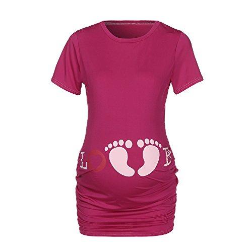 Topgrowth T Shirt Premaman Divertenti Stampare Top Slim Fit Footprint Pregnancy Shirt Manica Corta Maglietta Gravidanza (Rosa Caldo, XL)