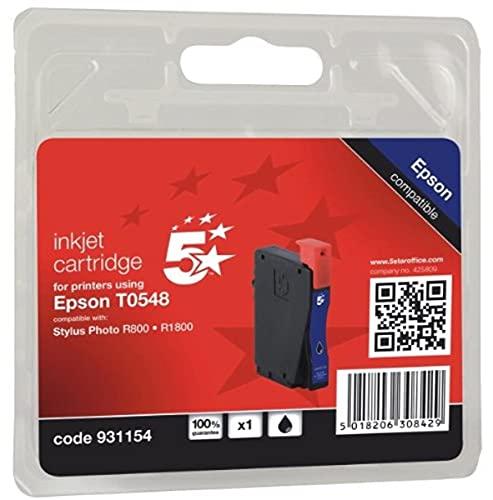 5Star 931154 Cartucho de Tinta - Cartucho de Tinta para impresoras (Negro, Epson Stylus Photo R800/1800, Ampolla) No
