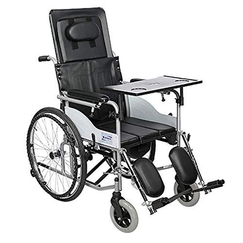 XCY Praktische Toilette Klappstuhl Halb Liegerad Rollstuhl Mit Wc Und Cross-Country Rollstuhl Mit Esstisch Folding Steel Tube