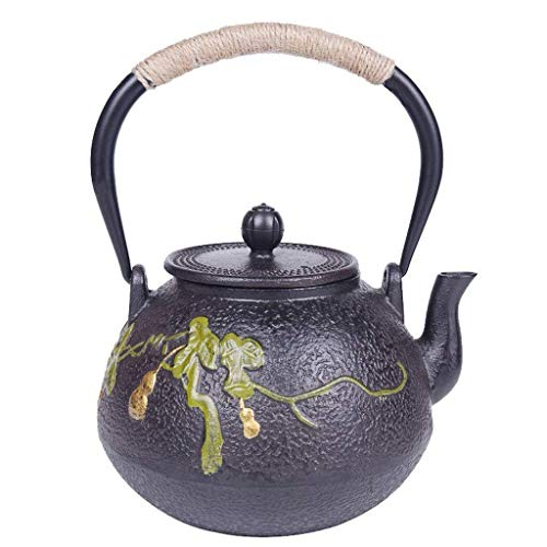 Infuser Teapot Ceramics 1.2L Best Cast Iron Teapot with Stainless Steel Tea Infuser, Tea Kettle Stovetop Safe