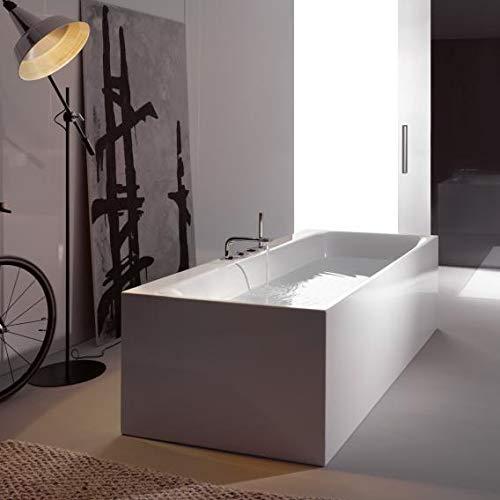 Bette Lux Silhouette Side, 180x90cm, freistehende Badewanne, 3461CFXVS+B601-901, weiß, mit Ab-und Überlaufgarnitur Multiplex M5