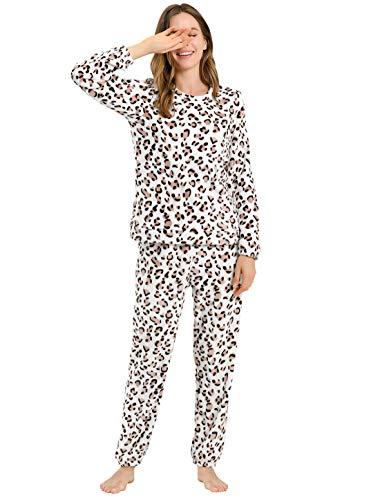 Allegra K Pijama De Franela Lindo Impreso Manga Larga Top Y Pantalones para Dormir Ropa De Dormir Suave Conjuntos Invierno para Mujeres Leopardo XXL