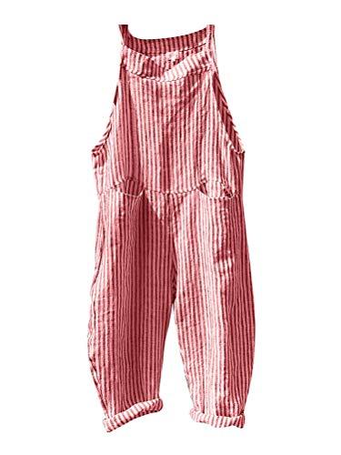 Minetom Latzhose Damen Jumpsuit Overalls Frauen Verband Streifen Latzhosen Mode Leinen Bodysuit Spielanzug Hose Lange mit Taschen Rosa DE 42