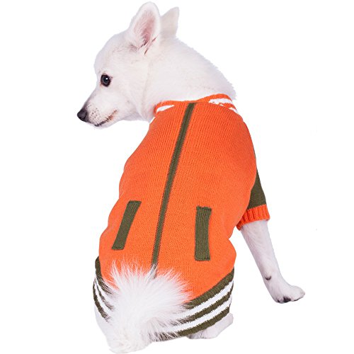 Blueberry Pet Weekender Sports Baseball Jacket Style Pullover Dog Sweater in Orange, Back Length 12', Pack of 1 Clothes for Dogs