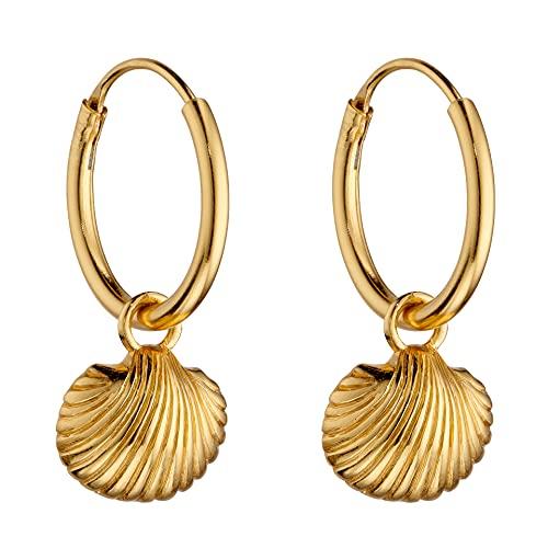 Pendientes de aro de plata de ley 925 chapados en oro con concha de mar y aro de 10 mm