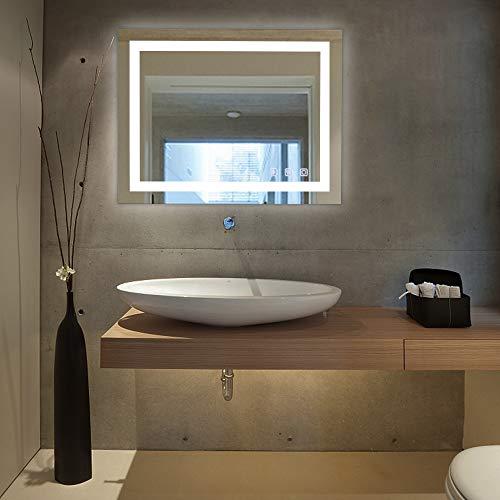 VINGLI Led Bathroom Mirror, 32'×24' Lighted Bathroom Mirror with Bluetooth, Espejo para Bano Led, Espejo Con Luz Touch, Dimmable LED Mirror Memory Touchscreen, Wall Mounted, Defogging, IP44+CRI90