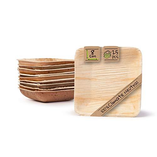 BIOZOYG Palmware - Snack Schälchen Set I 25 Bio Einweg Schalen quadratisch 80ml, 8x8cm I Partygeschirr kompostierbar & biologisch abbaubar I Palmblätter Einweg-Geschirr für Fingerfood Dips Buffet