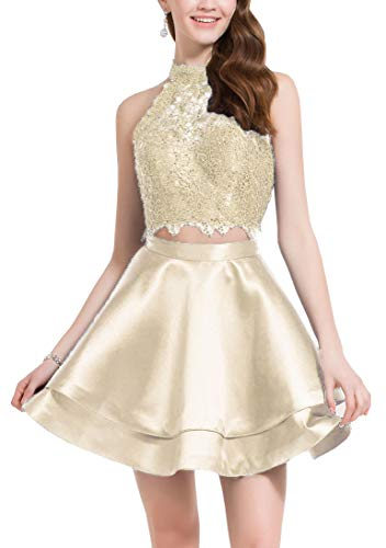 Women's 2 Piece Prom Dresses Short Halter Lace Homecoming Dress for Juniors Champagne Size 0