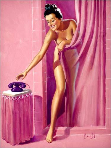 Posterlounge Acrylglasbild 60 x 80 cm: Brünette in der Dusche von Al Buell - Wandbild, Acryl Glasbild, Druck auf Acryl Glas Bild