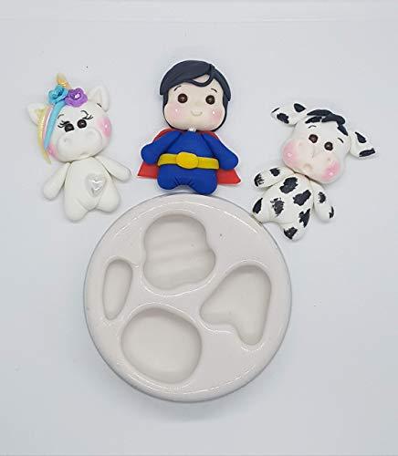 Moldes silicona manualidades miniaturas apliques porcelana fría vaca unicornio superheroe