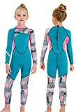 Gogokids Muta Termica per Bambina Ragazze - Costumi da Bagno Intero Muta da Sub Bambini 2.5mm Neoprene Costumi da Mare per Surf Diving Snorkeling Nuotare Protezione Solare UV 50+, Blu, M