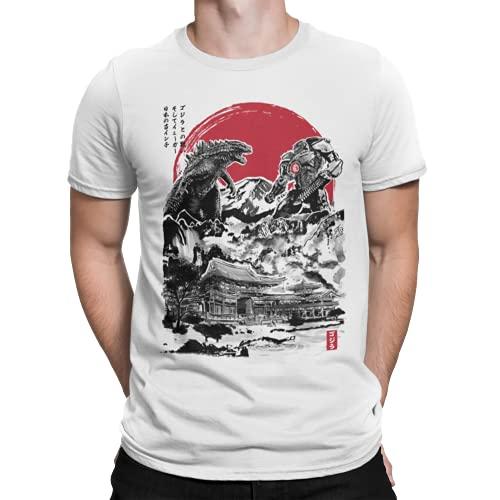 Camisetas La Colmena 3425-Godzilla - Attack on Japan - (XS, Blanco)