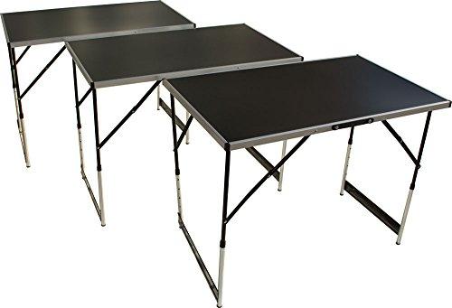 Multifunktionstisch 3teilig, Tapeziertisch und Arbeitstisch mit 30kg Tragkraft, (100 x 60 cm), Campingtisch, höhenverstellbares Stahlgestell, klappbar mit Tragegriff