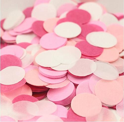 Since 600pieces 2 Inch Pastel Confetti for Wedding Table Decoration Party Favor Push Pop Confetti (Pink White Fuchsia)