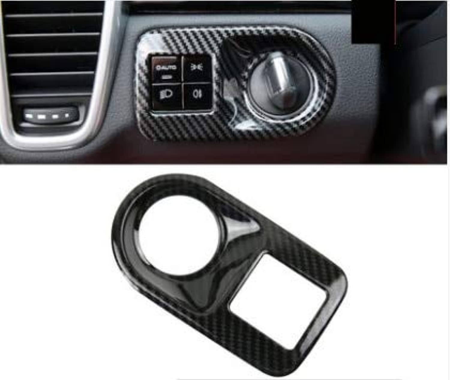Car Styling for Porsche Cayenne 2018 2019 ABS Car Head Light Switch Frame Cover Internal Decoration Sequins Stickers Accessories  (color Name  Black)