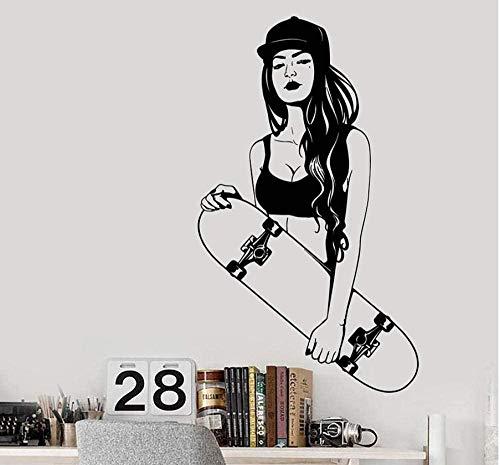 YFKSLAY Etiqueta de la Pared Skateboard Skateboarder Teen Booty Style Girl Vinyl Wall Decal Decoración para el hogar Arte Mural Extraíble 58 * 99