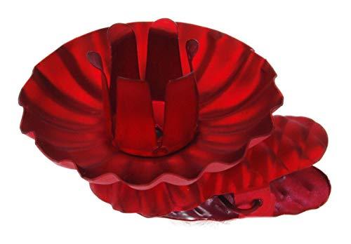hdg haus-der-geschenke Baumkerzenhalter Clip 8er Set Zapfenform farbig Made in Germany, Farbe_Baumkerzenhalter:rot-matt