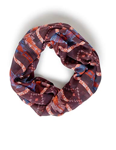 CECIL Damen 571279 Loop im Ethno-Print Mode-Schal, red mahogany, One Size