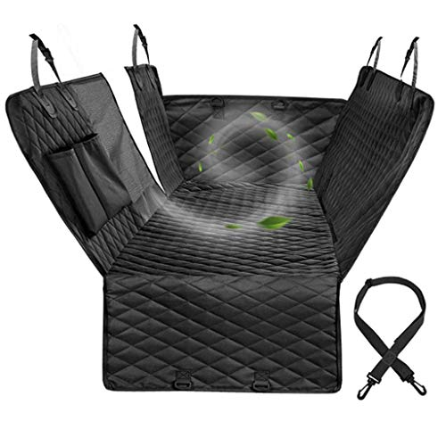 ZGF Waterproof Dog Car Seat Covers, Dog Seat Cover with Side Flaps, Pet Seat Cover for Back Seat,Hammock Convertible,Black