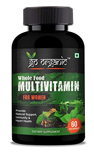 Go Organic Organic Whole Food Multivitamin for Women - Natural Vitamins, Minerals, Raw Organic Extracts - Best Supplement for Energy and Heart Health - Vegan - Non GMO - 60 Capsules (Women), green