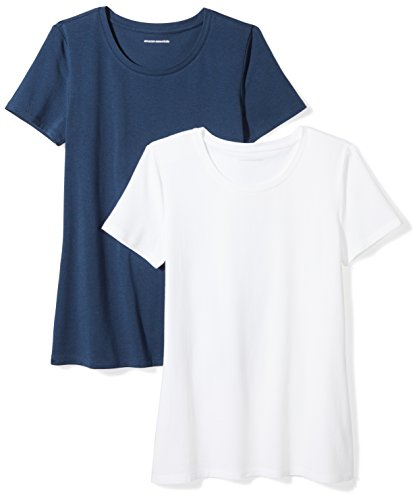Amazon Essentials Women's 2-Pack Classic-Fit Short-Sleeve Crewneck T-Shirt, Navy/White, Small