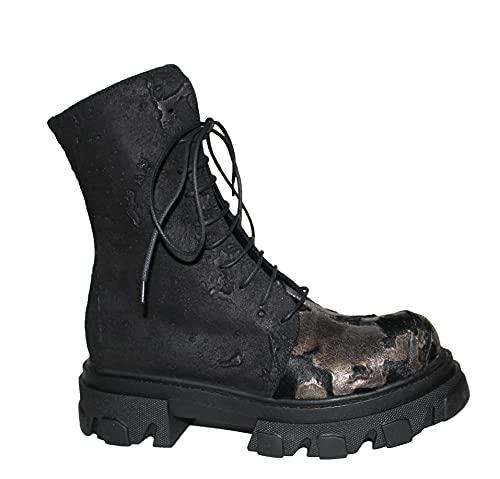 Papucei Stiefel Combat Boots Gr. 39 Leder Matia - Animal Print Black
