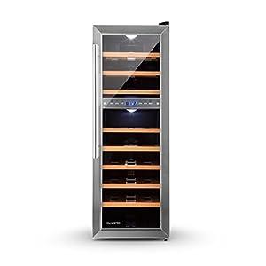 Klarstein Reserva 27D - Nevera para vinos, Nevera para bebidas, 27 Botellas, 2 Zonas, 8 Baldas de madera, Iluminación LED, Módulo independiente, Silencioso, Pantalla LCD, Negro-plateado