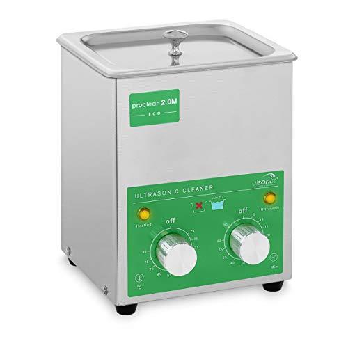 Ulsonix PROCLEAN 2.0M ECO Lavatrice Ultrasuoni Pulitore Ultrasuoni Vasca Ultrasuoni Professionale (2 L, Potenza Ultrasonica 60 W, Potenza di Riscaldamento 50 W, 40 kHz, Timer 60 min, Acciaio Inox)