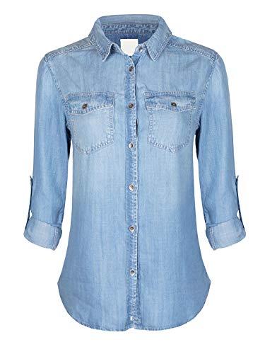 Design by Olivia Women's Classic Long/Roll Up Sleeve Button Down Denim Chambray Shirt Light Denim2 M