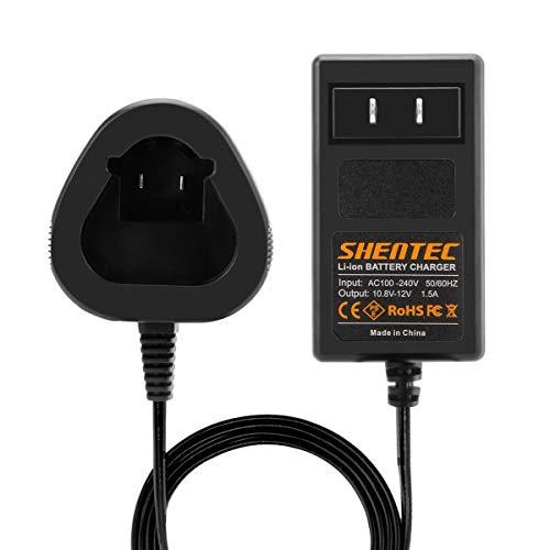Shentec 10.8V-12V Li-ion Cargador Compatible con Bosch GBA12V30 BAT411 BAT411A BAT412 BAT412A BAT413 BAT413A BAT414 D-70745 2607336013 26073360 Bosch 10.8V Li-ion Pod Style Batería