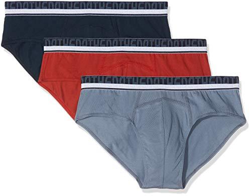 ATHENA - Lot de 3 Slips Homme Coton Bio - Taille : 5 - Couleur : Rouille-Marine-Gris