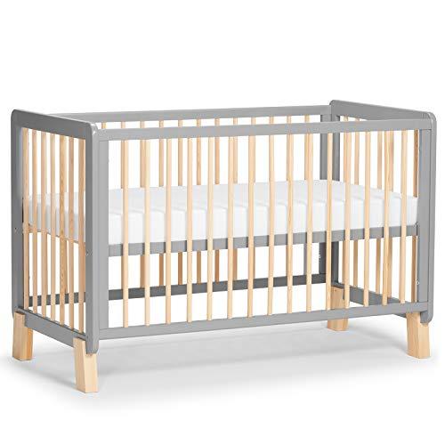 Kinderkraft Kinderbett LUNKY, Babybett aus Holz, Gitterbett mit Matratze, 3 Stufen Höhenverstellbar, skandinavisches Design, 120 x 60 cm, Grau