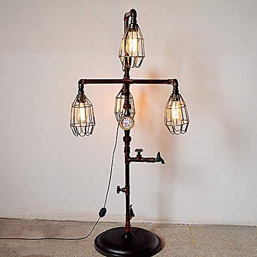 B-D Retro bruiswaterleiding staande lamp creatieve ijzeren kooi Steampunk metaal E27 4-licht vloerlamp voor restaurant bar pub clubhuis binnenverlichting