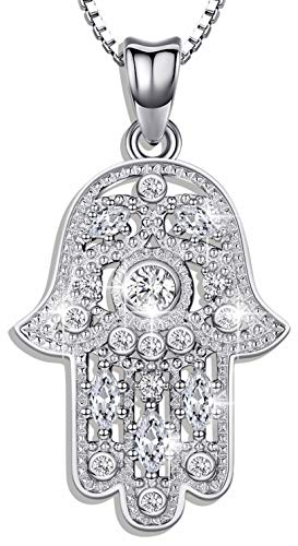Aniu 925 Sterling Silver Necklace for Women, Hamsa Hand of Fatima Evil Eye Pendant with Cubic Zirconia, Comes with Black Jewelry Gift Box and 18 Inch Chain
