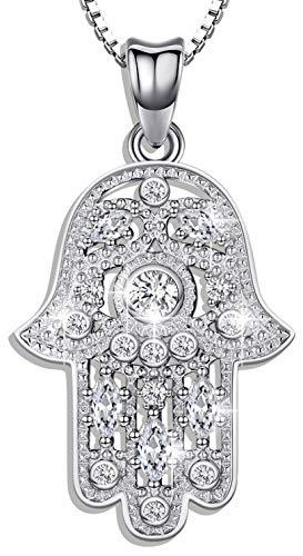 Aniu Halsketten für Frauen, Hamsa Hand der Fatima Silberkette Damen 925, Hand der Bösen Augen Anhänger mit Zirkonia, Geschenke für Freundin, Mama und Geburtstag mit 46cm Kette (Reine Hamsa Hand)
