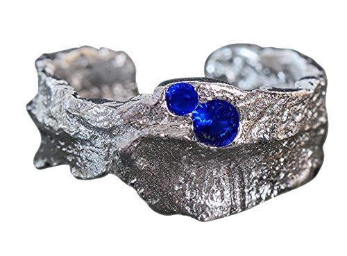 NicoWerk Damen Silberring Antik aus 925 Sterling Silber Uneben mit Stein Blau Asymmetrisch Zirkonia Verstellbar Offen SRI655