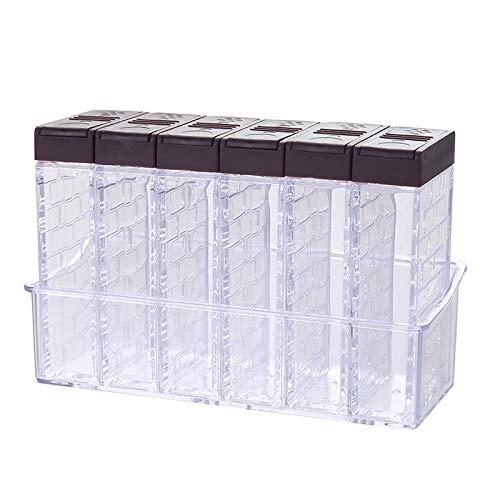 Gewürzstreuer aus Kunststoff,6 Transparenten Gewürzdosen und Pfefferstreuer Gewürzbox Camping Gewürzbox set mit Tablett und 2 Arten von Auslasslöchern zur Aufbewahrung von Küchengewürzen,Braun