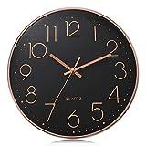 Lafocuse Reloj de Pared Oro Rosa Negro Moderno Decorativos Silencioso Interior Redondo 30 cm Reloj Cuarzo sin Tic TAC para Cocina Oficina Salon