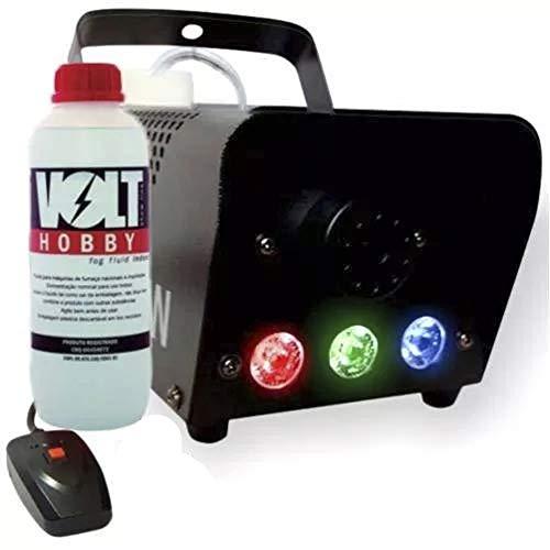 Máquina de Fumaça 600W Efeito Led RGB Controle Remoto 110V + Litro