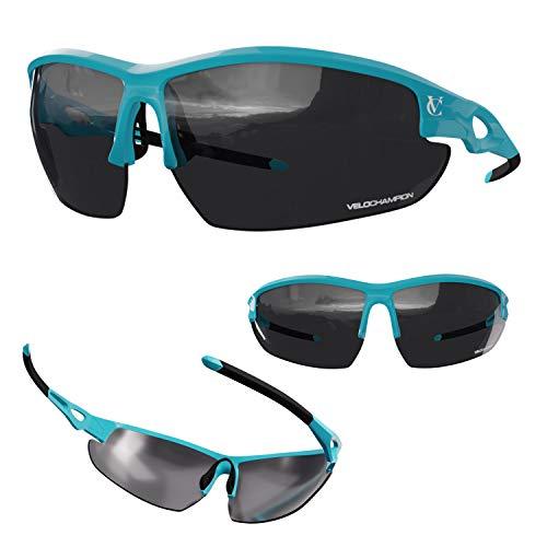 VeloChampion Tornado Occhiali da sole, blu, con 3 set di lenti intercambiabili e custodia morbida