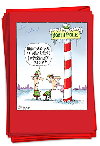 NobleWorks - 12 Funny Cards for Christmas - Boxed Cartoon Greeting Cards with Envelopes, Holiday Xmas Humor (1 Design, 12 Cards) - Frozen Tongue B2477XSG