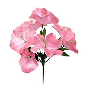Pink 5X Hibiscus Artificial Silk Flowers Centerpiece Fake Faux Bouquet Party Tropical, for Wedding Supplies