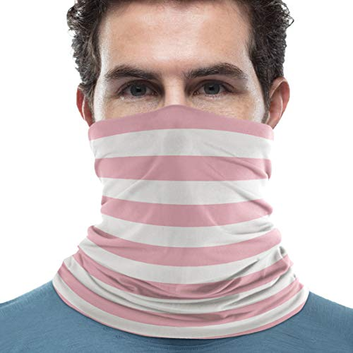 Unisex Neck Gaiter Pink and White Stripes 18 x 9 inch Sun Protection Scarf Lightweight & Breathable Head Wraps Sport Neck Scarf Headbands for Running/Cycling