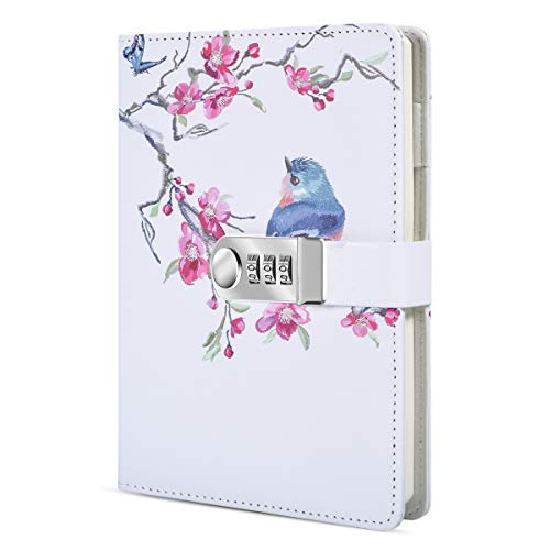 ARRLSDB Creative Password Journal with Lock A5 PU Leather Diary with Combination Lock Password Notebook Locking Journal Diary (Style 3)