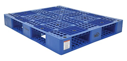 Vestil PLP2-4840-BLUE Blue Polyethylene Pallet with 4 Way Entry, 6600 lbs Capacity, 39.5' Length, 47.375' Width, 6' Height