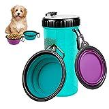 Botella de Agua para Perros Portatil Envase de Comida para Perros con 2 Plegable Tazones, Portatil Botella de Agua de Viaje para Mascotas