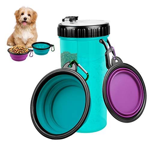 Bottiglia Acqua per Cani Portatile 420ml, 2 in 1 Borraccia per Animali Domestici e Contenitore per Alimenti, Pet per Bere all'aperto Tazza con 2 Pieghevole Ciotola per Cani (Blu)