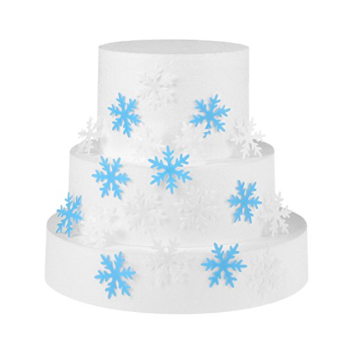 GEORLD 48Pcs Edible Cupcake & Cake Toppers Snowflakes Christmas Winter Party Decoration 2 Colors(White and Blue)