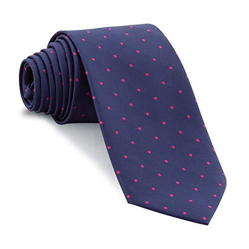 Cencibel Smart Casual Corbata Lunares o Topos (Fondo Azul Marino Lunares Fucsia)